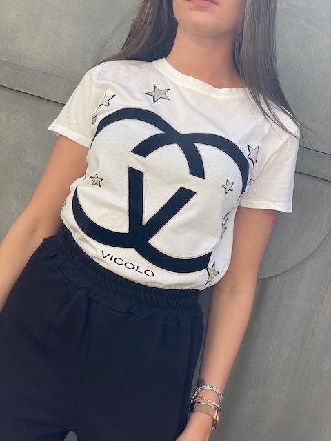 T-shirt Vicolo Stampa Gucci con stelle e profili oro lurex