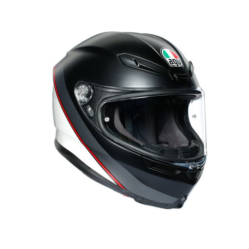 Casco AGV K6 Minimal Pure Matt Black/White/Red