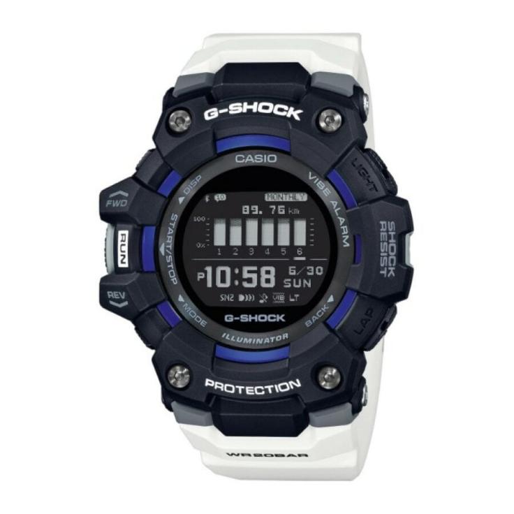 Casio G-Shock  G-Squad orologio digitale multifunzione, cassa nera, cinturino bianco
