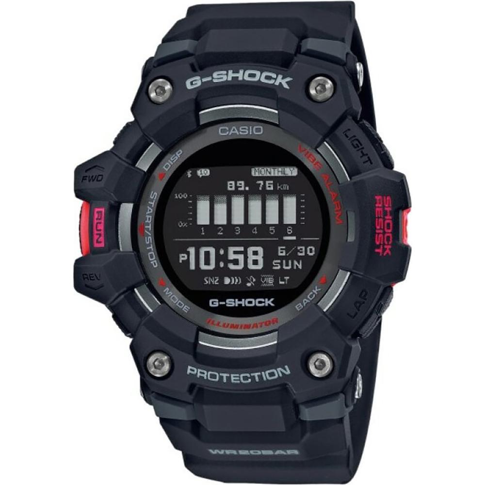Casio G-Shock  G-Squad orologio digitale multifunzione, cassa nera e rossa, cinturino nero