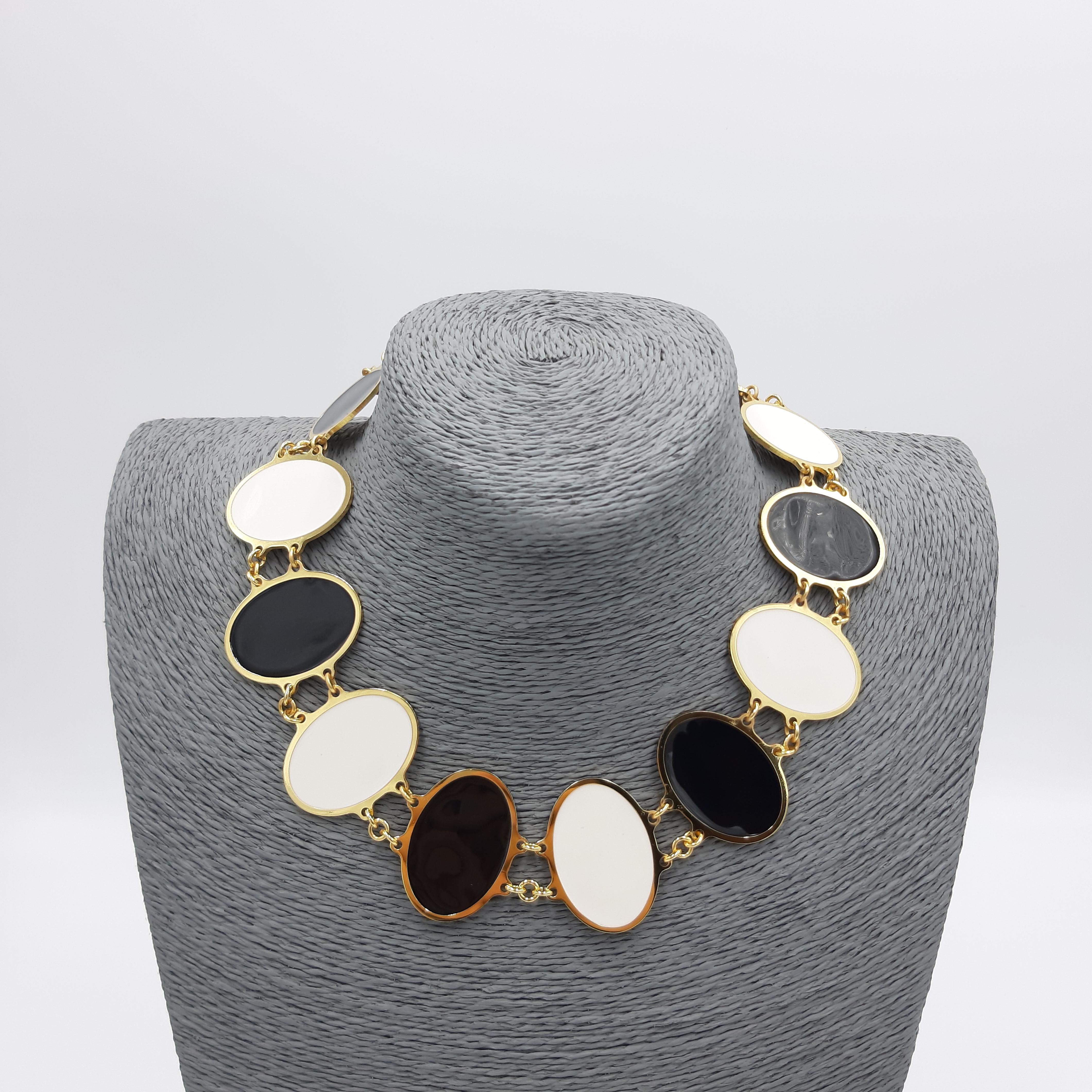 Collana girocollo bianca e nera Francesca Bianchi Design