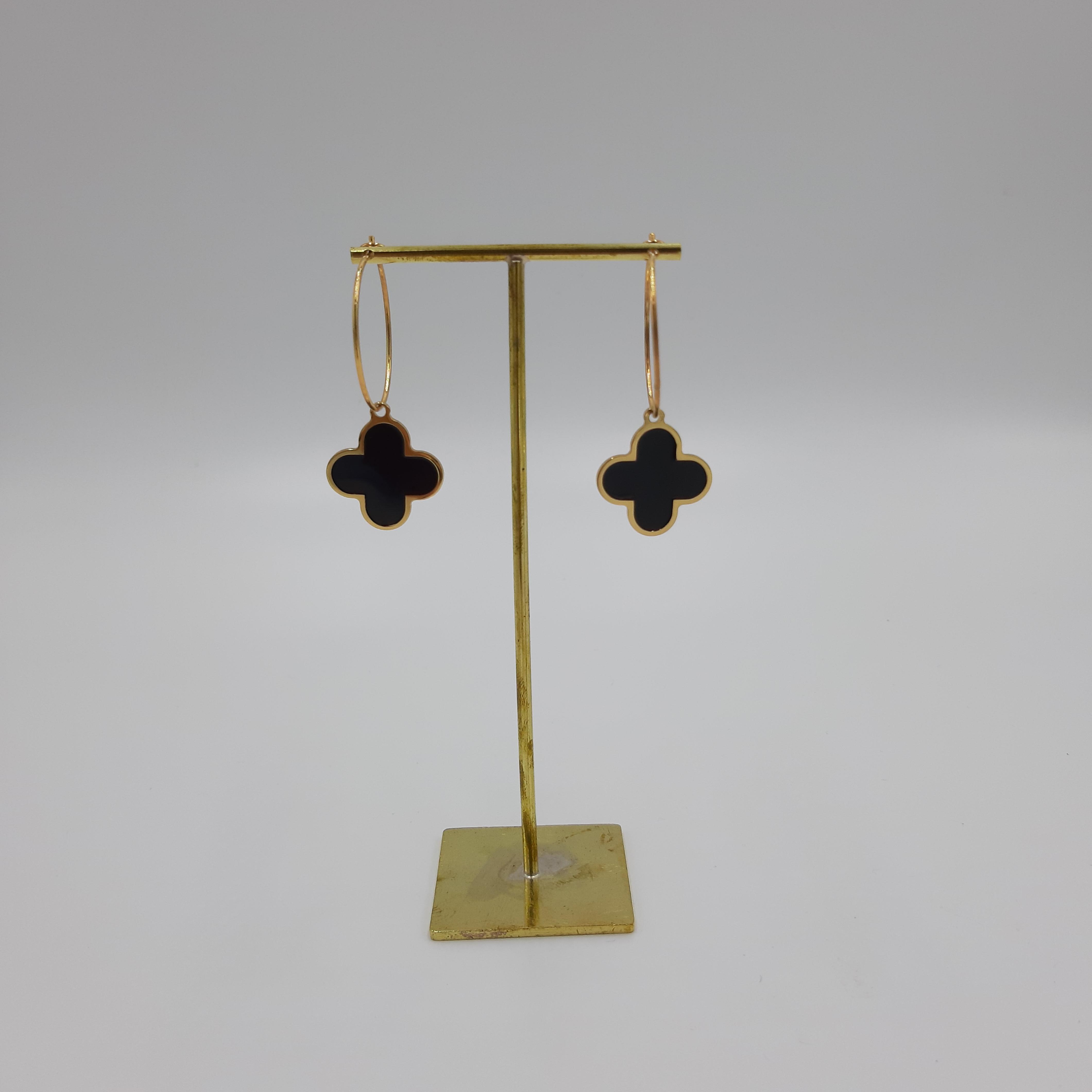 Orecchini hoop fiore nero Francesca Bianchi Design