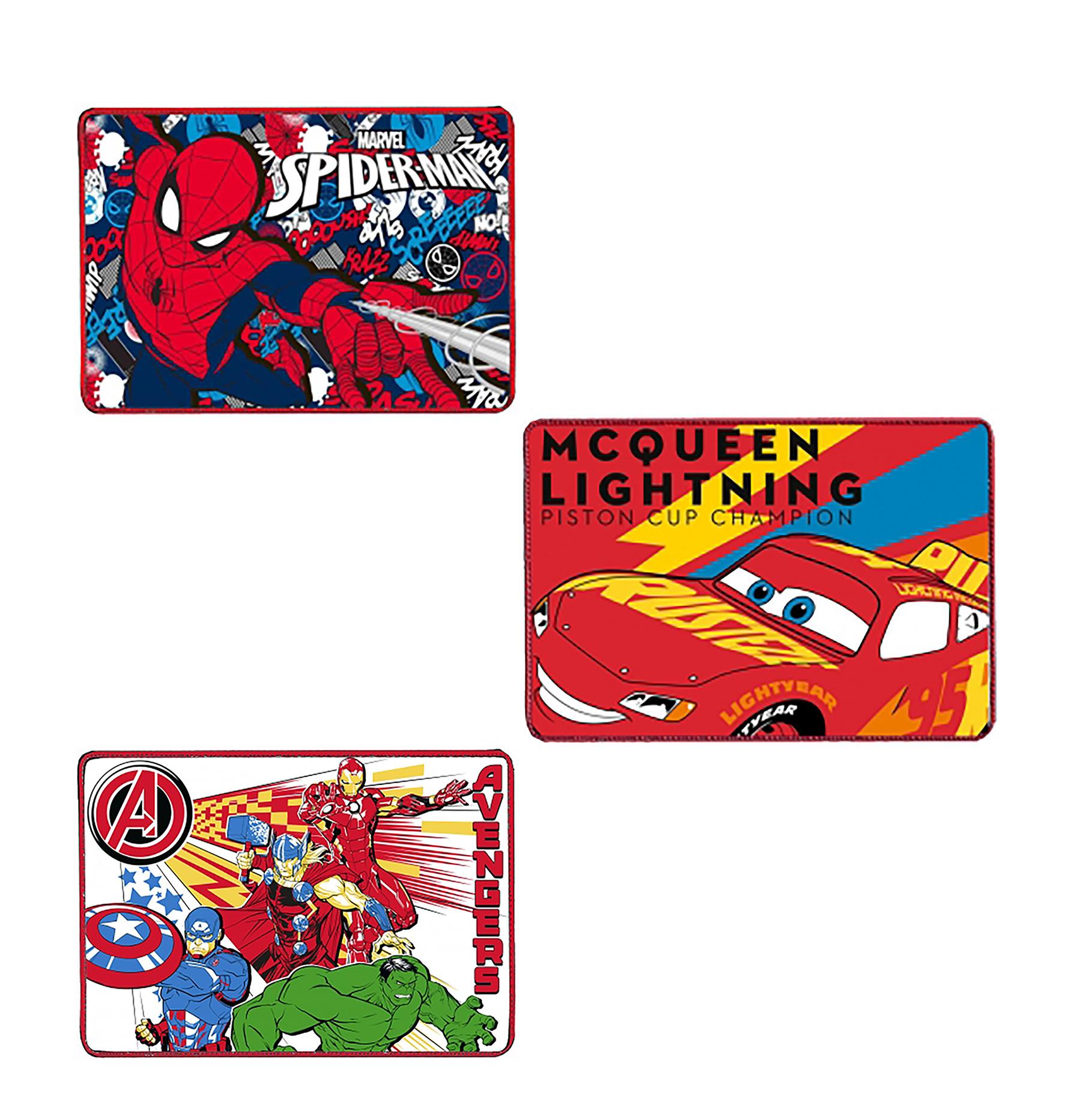 N. 3 Tovagliette all'americata Vari Personaggi in Misto Cotone (Spiderman - Avenger - Cars)
