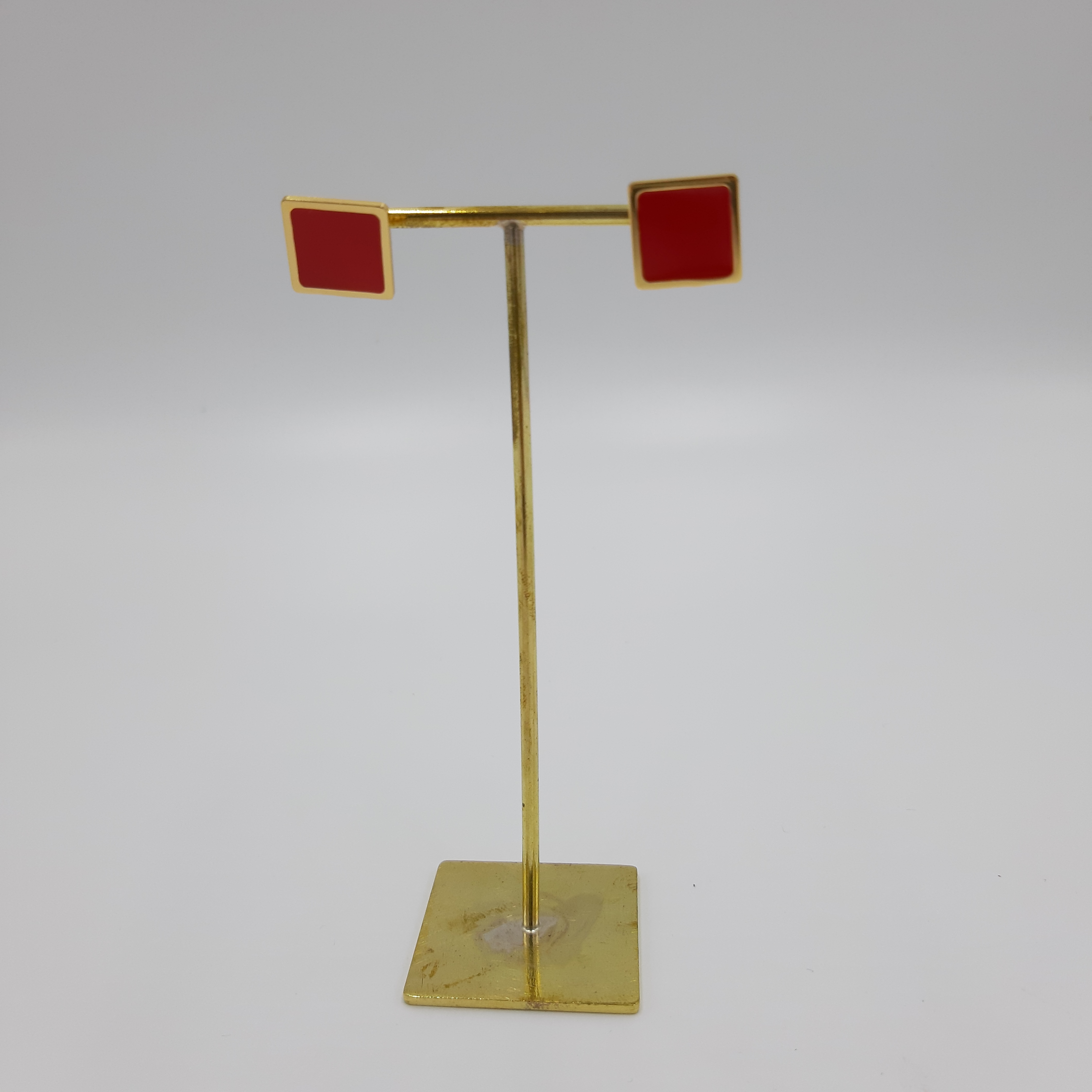 Orecchini quadrati rossi Francesca Bianchi Design