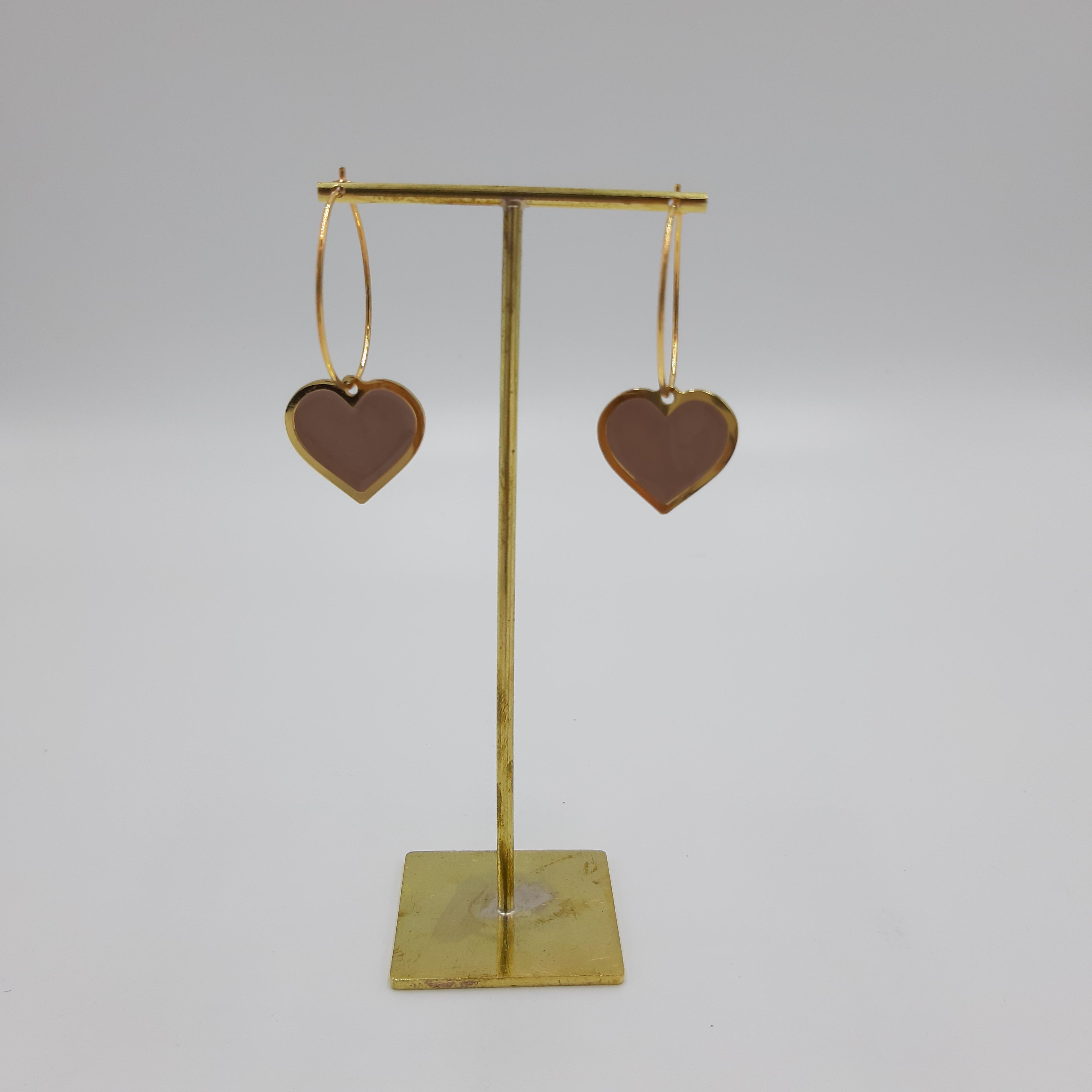 Orecchini hoop cuore rosa Francesca Bianchi Design