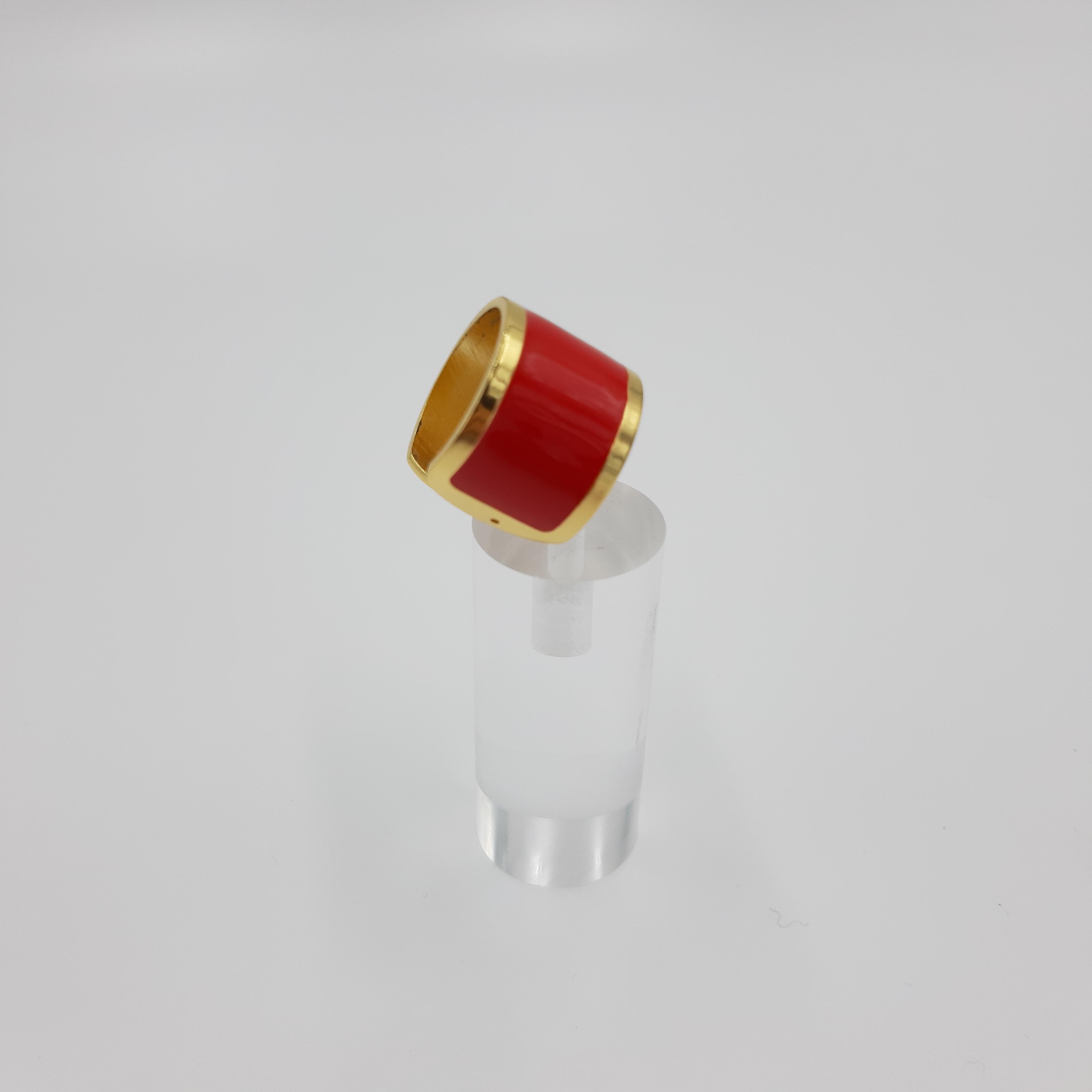 Anello rosso e oro Francesca Bianchi Design
