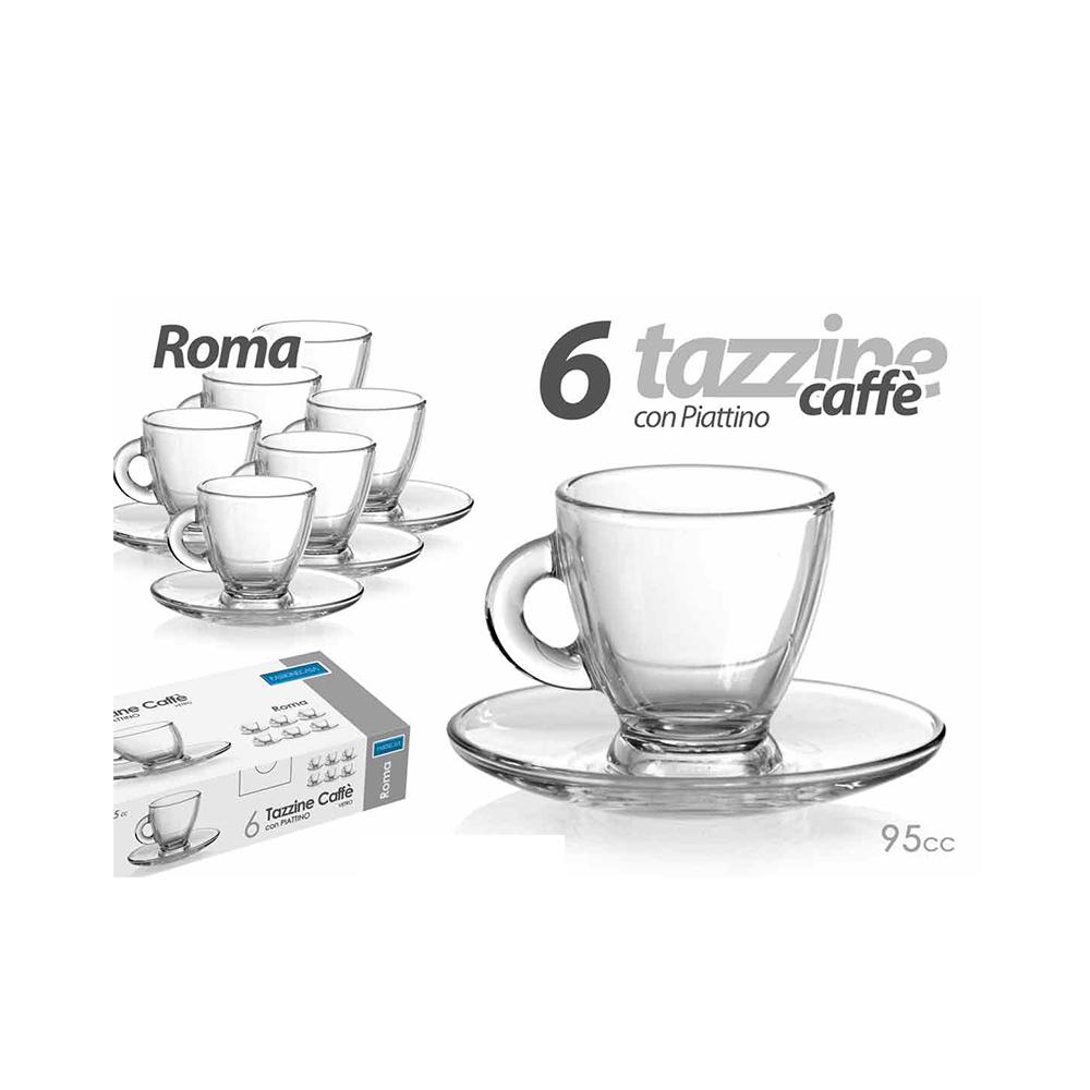 Set 6 Tazzine Caffè In Vetro Trasparente Modello Roma