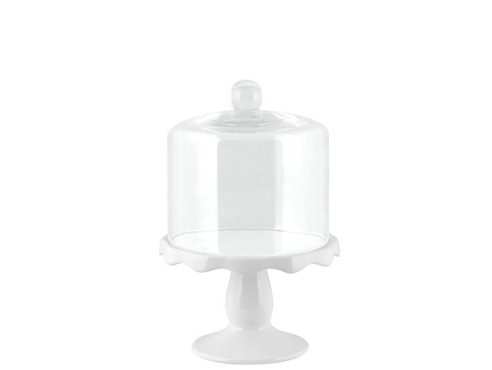 Alzata in porcellana con campana in vetro cm15