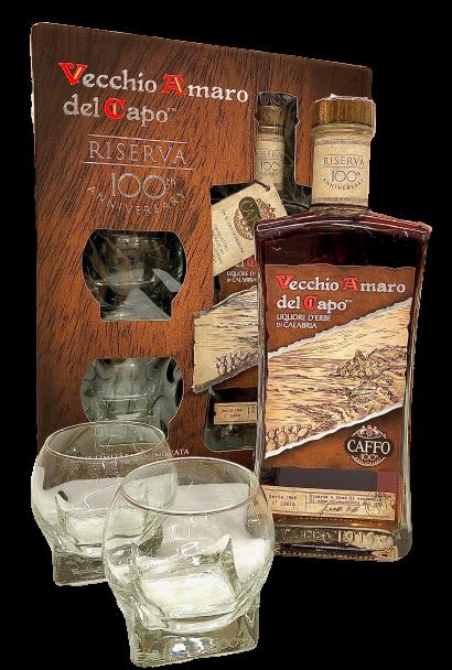 Vecchio Amaro del Capo Riserva 100 Anniversario confezione con bicchieri - Distilleria F.lli Caffo