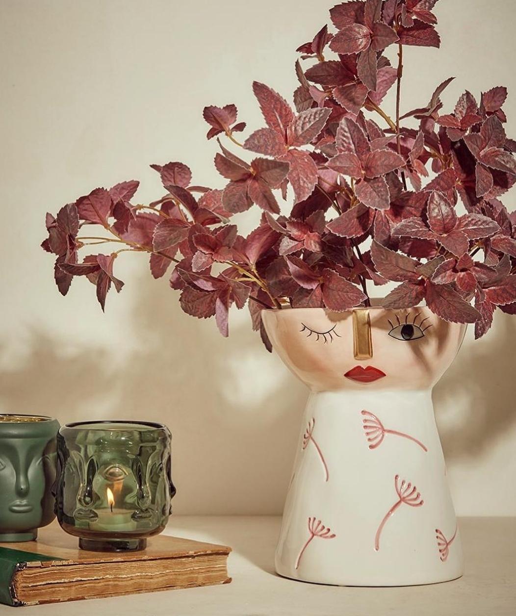 Vaso Caterina ceramica soffioni rosa