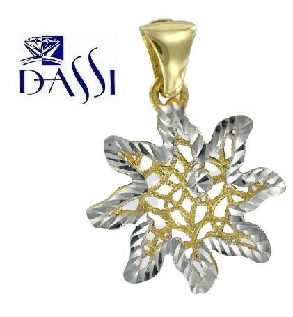 Ciondolo in oro 18kt bicolore a forma di stella alpina