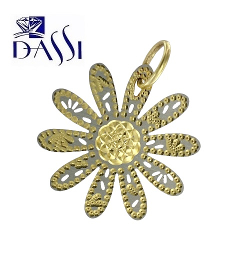 Ciondolo in oro 18kt bicolore a forma di margherita con i petali in oro bianco traforato