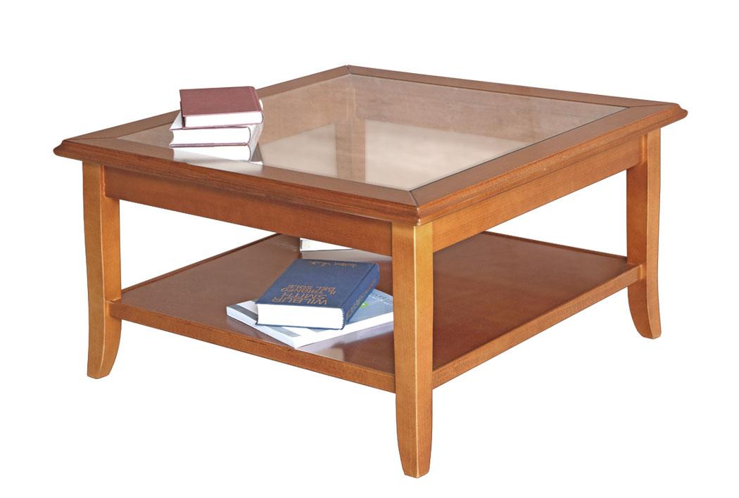 Quadratischer Couchtisch Glasplatte Classic Wood