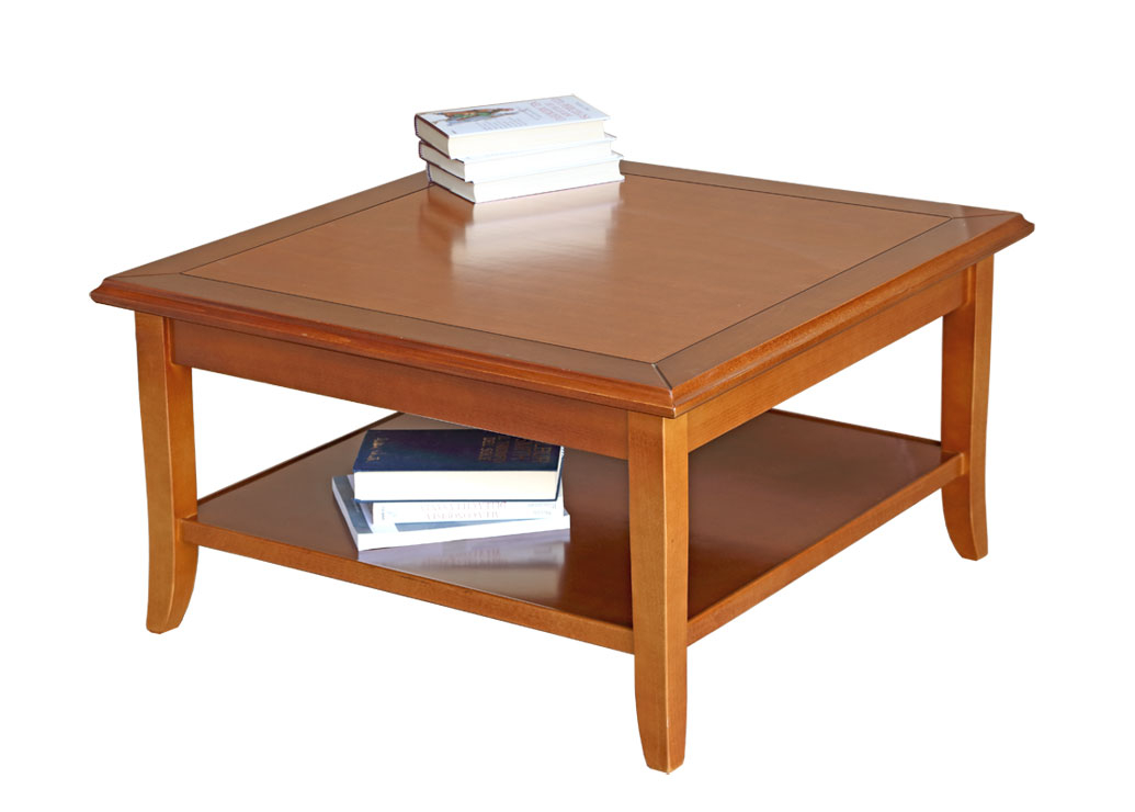 Quadratischer Couchtisch 80x80 cm Holzplatte