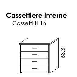 CASSETTIERA INTERNA 4 CASSETTI PER BATTENTE GOLF