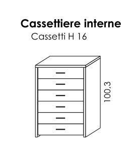 CASSETTIERA INTERNA 6 CASSETTI PER BATTENTE GOLF