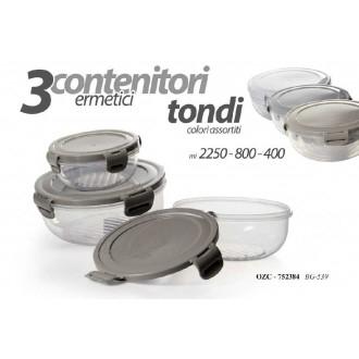 Tris di Contenitori Rettangolari Ermetici Trasparenti 3 Dimensioni 400 ml 800 ml 2250 ml Per Conservare Cibo e Alimenti