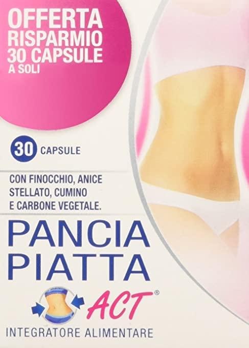 PANCIA PIATTA 30 CAPSULE CON ANICE STELLATO, CUMINO, FINOCCHIO, CARBONE VEGETALE PER ELIMINARE I GAS E FAVORIRE LA DIGESTIONE