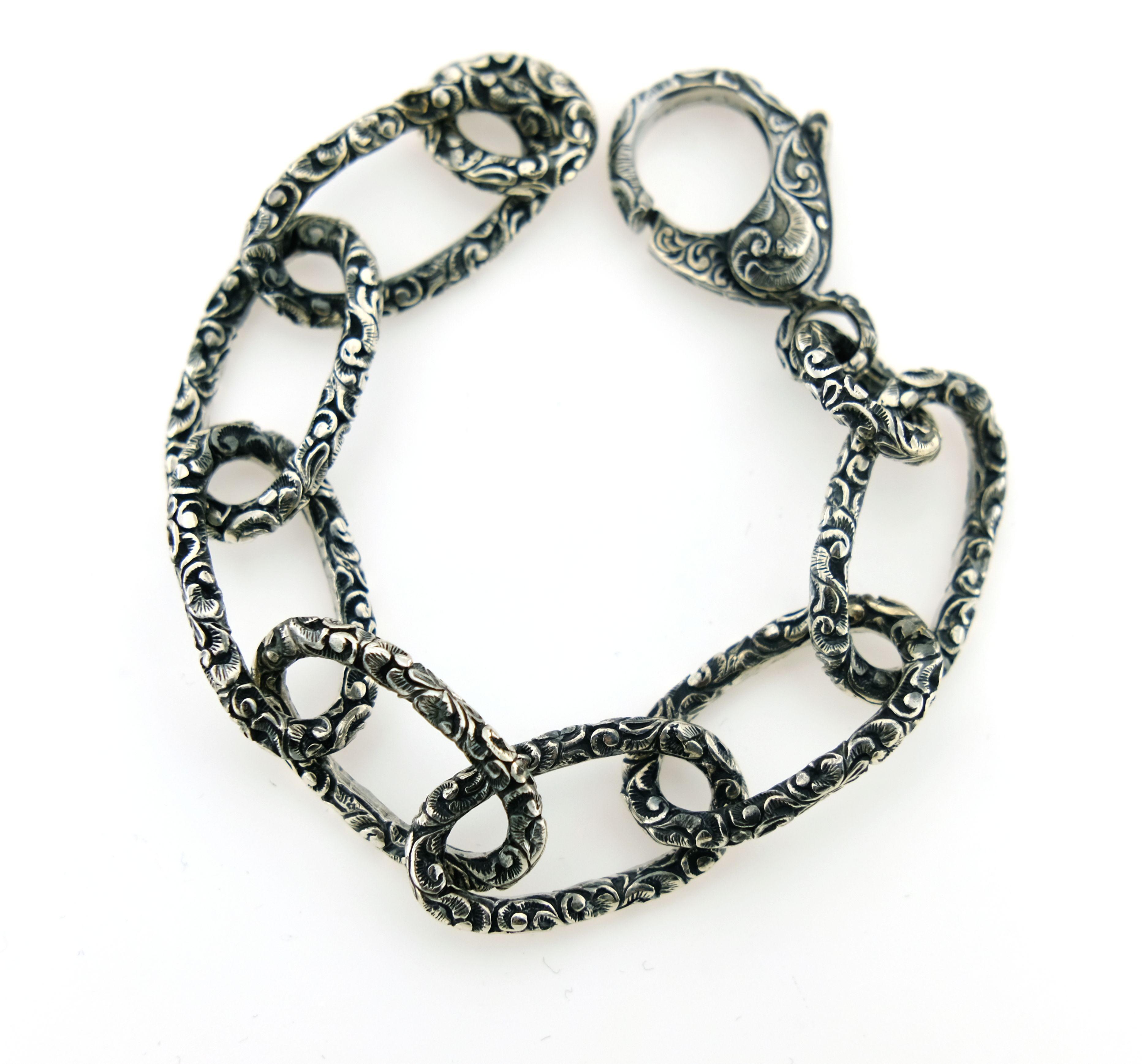 Bracciale in argento intarsiato anelli ovali Maria e Luisa