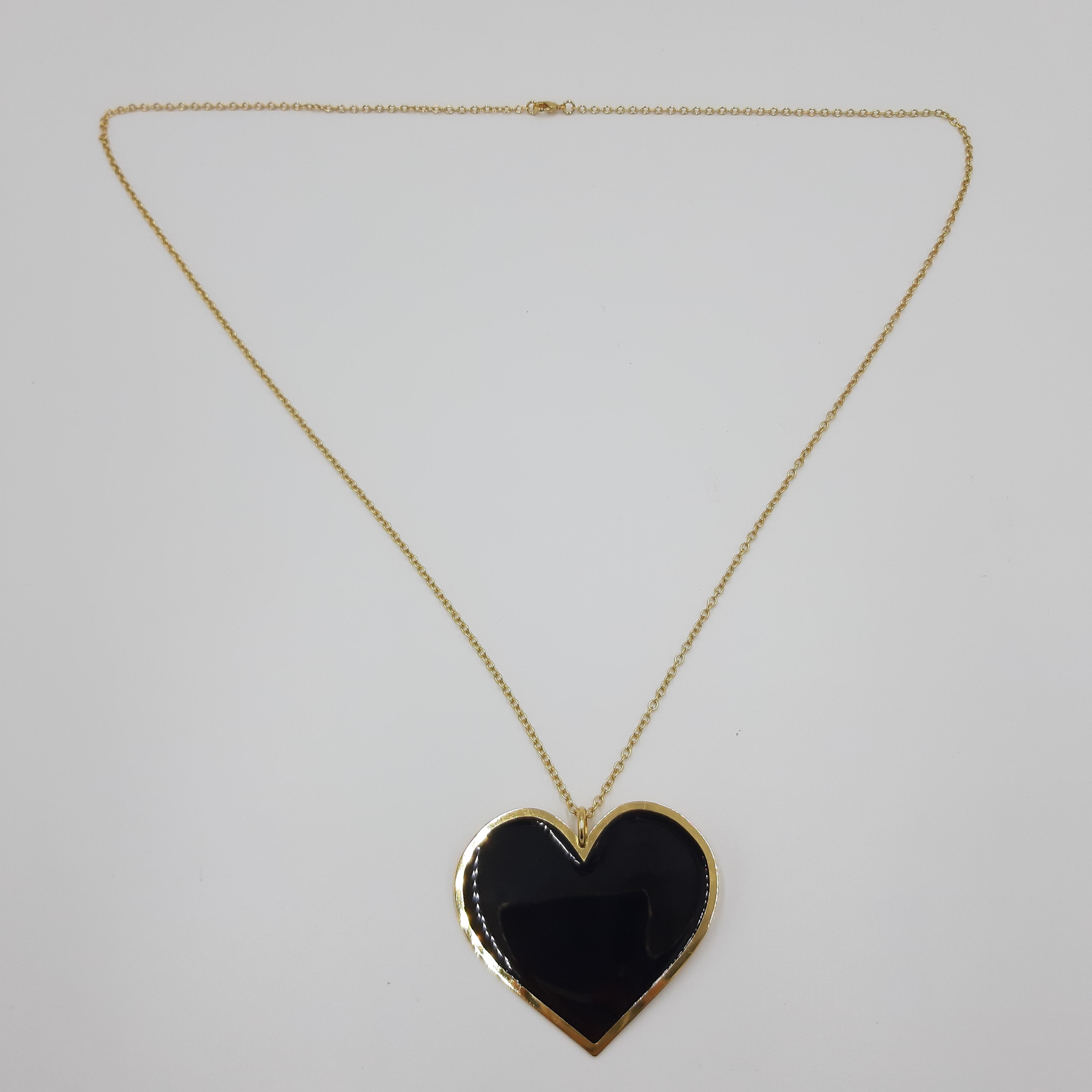 Collana lunga con cuore nero Francesca Bianchi Design