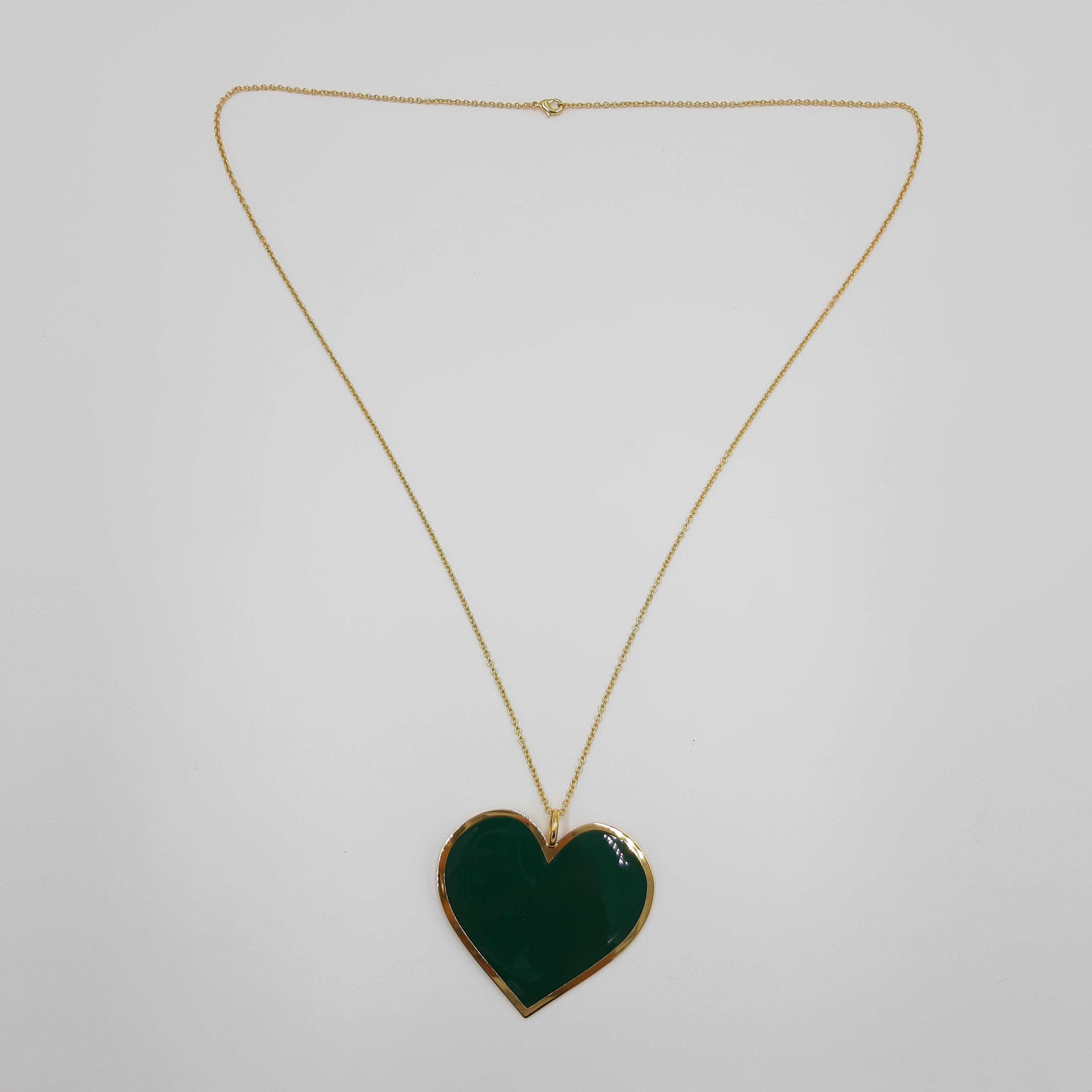 Collana lunga con cuore verde Francesca Bianchi Design