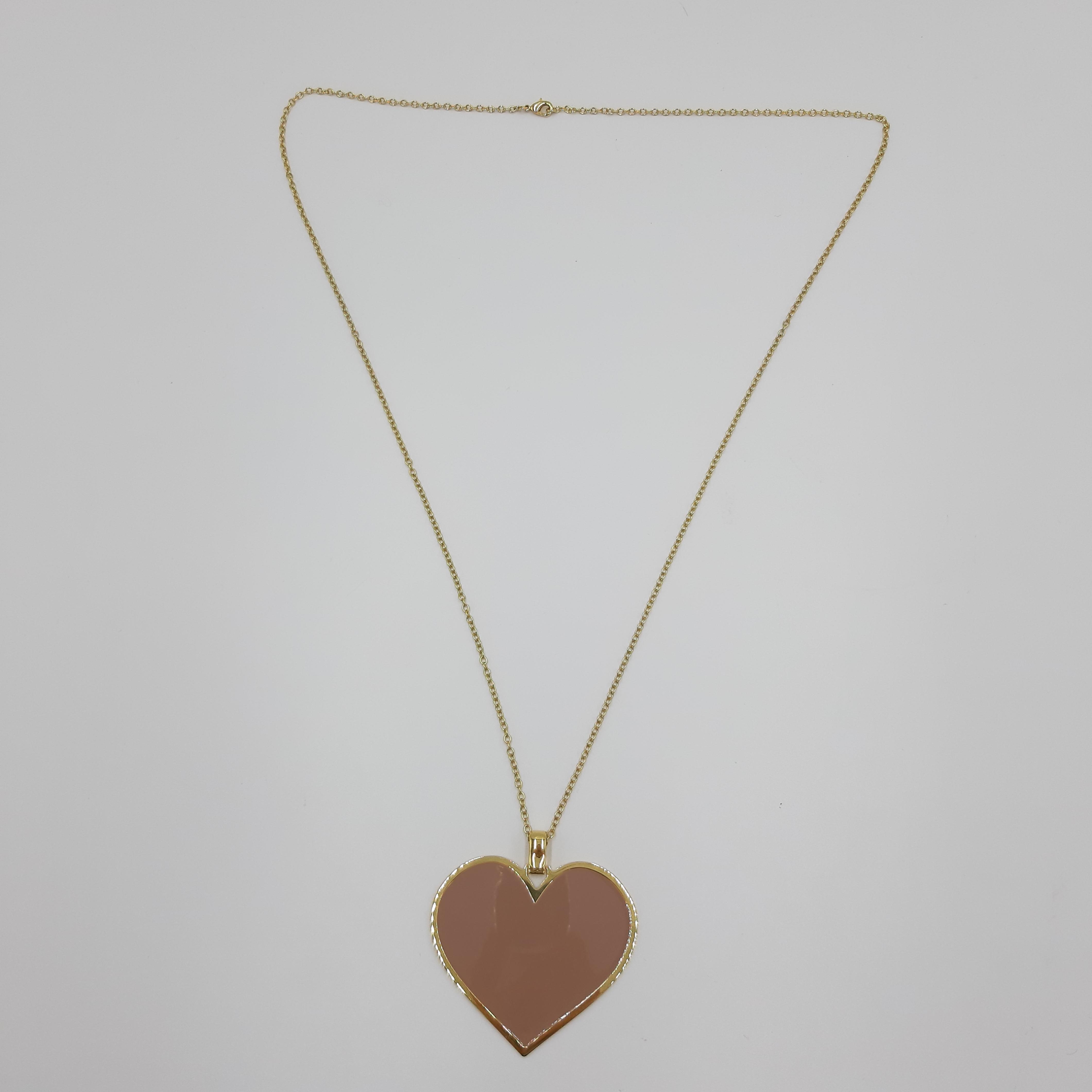 Collana lunga con cuore rosa Francesca Bianchi Design