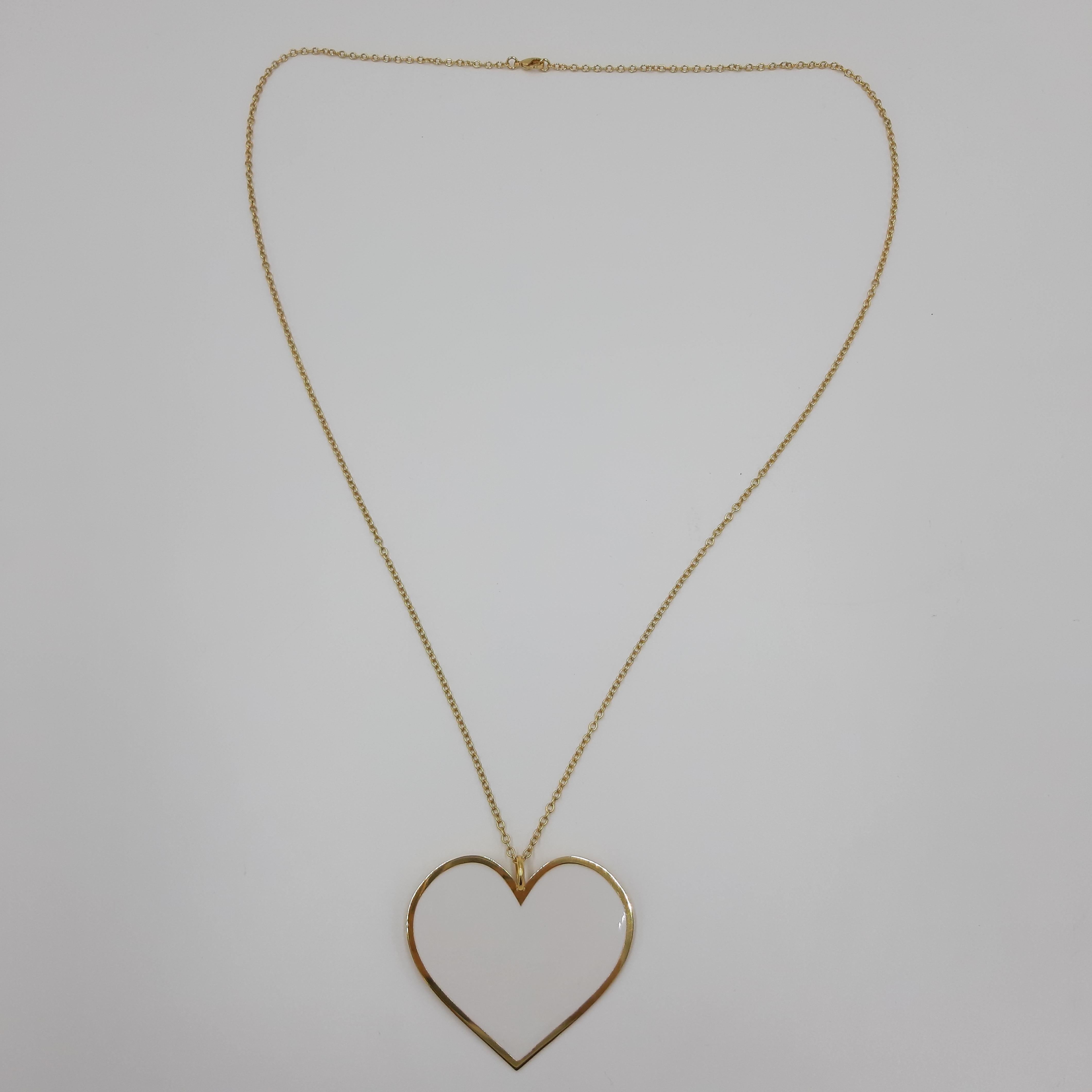 Collana lunga con cuore bianco Francesca Bianchi Design