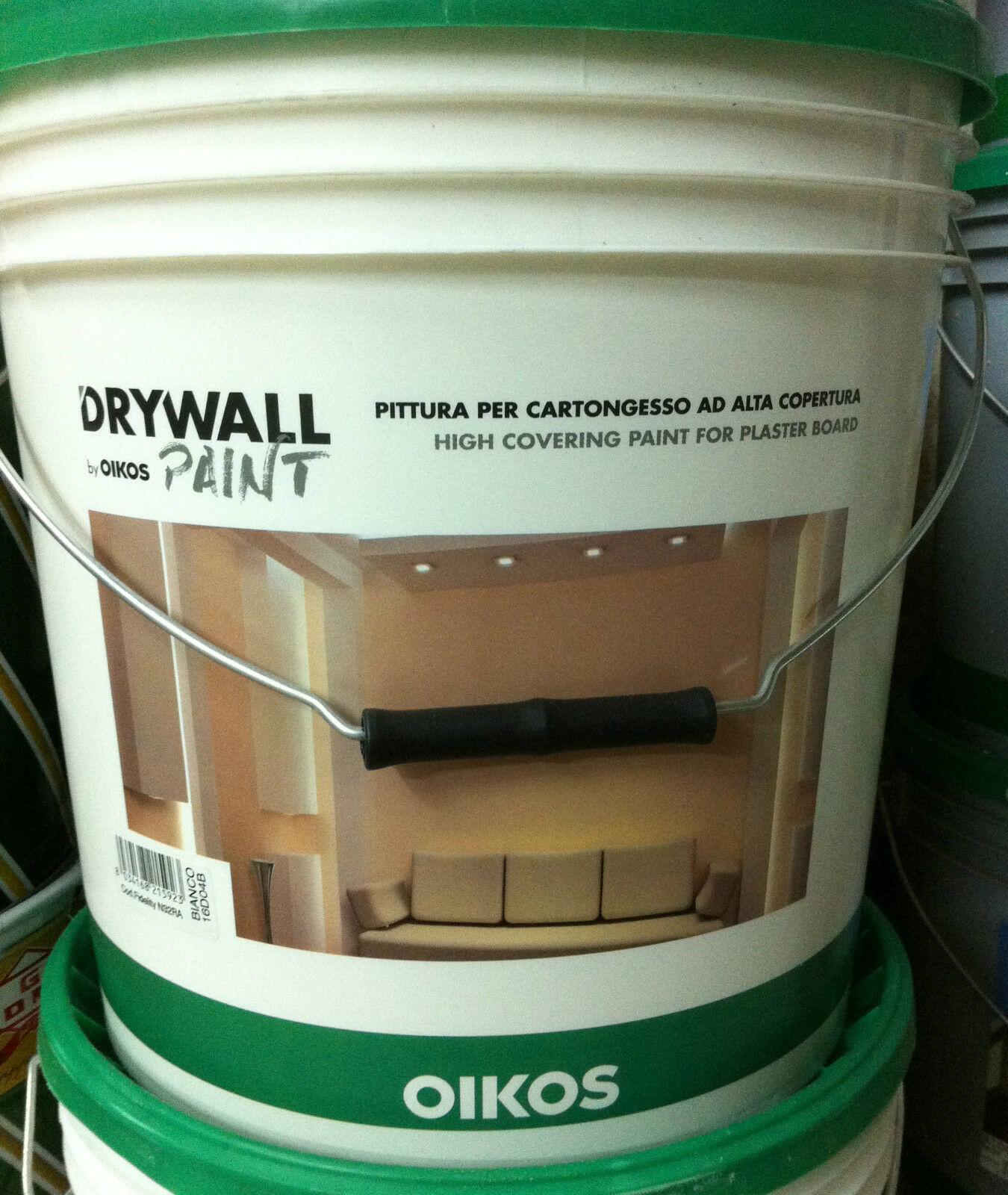 Oikos drywall paint pittura per cartongesso ad alta copertura bianca 14lt