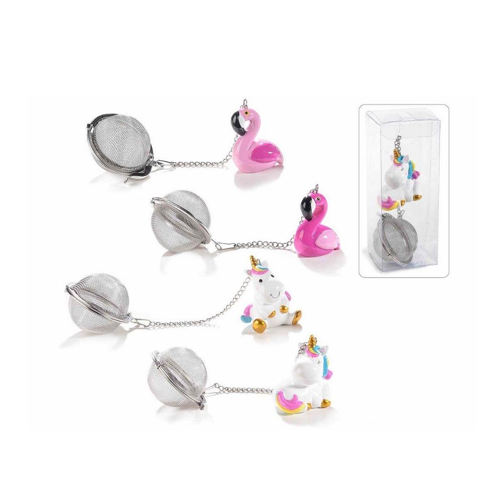 Set 4 filtri infusori tè in metallo con pellicano e unicorno