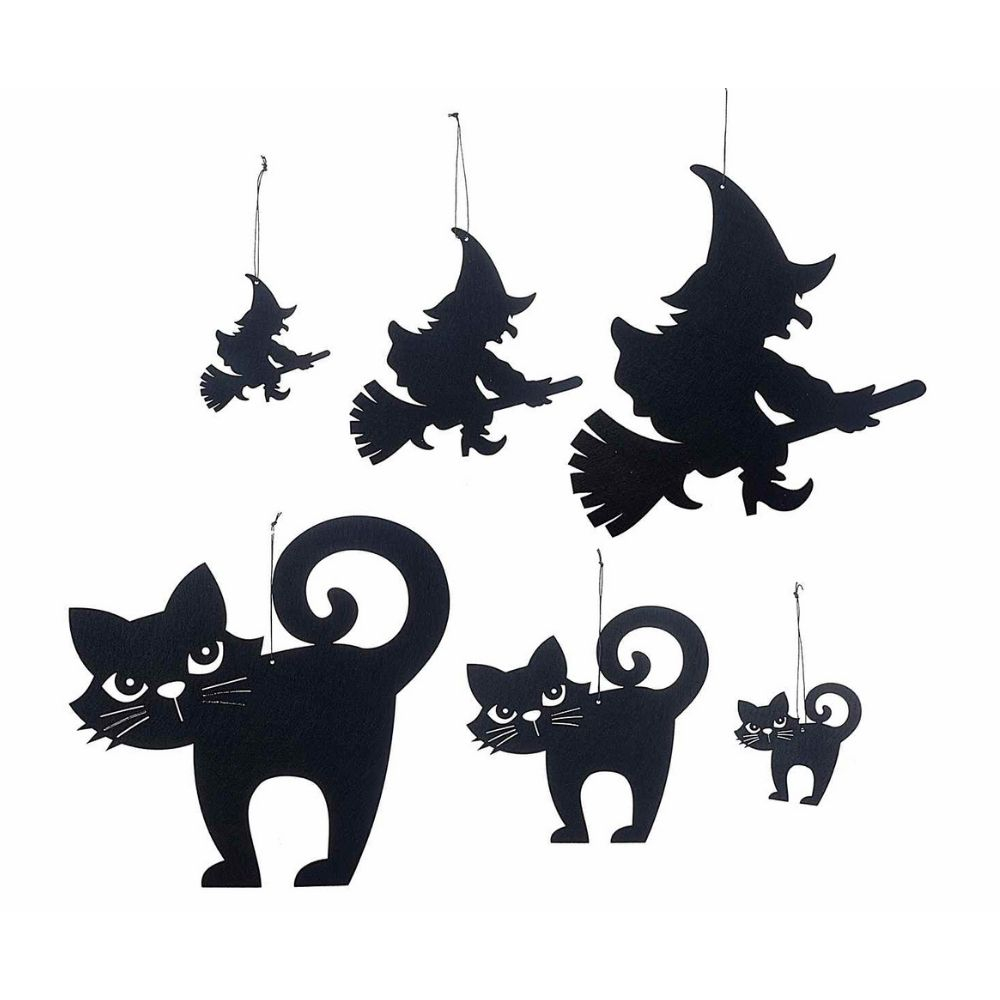 Set con 36 decorazioni di Halloween in panno nero