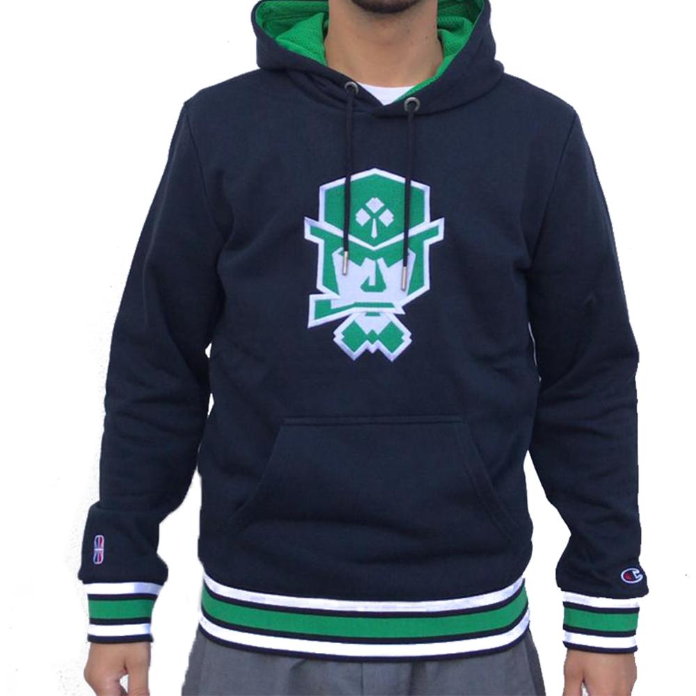 Felpa Champion Logo Ricamato Verde da Uomo