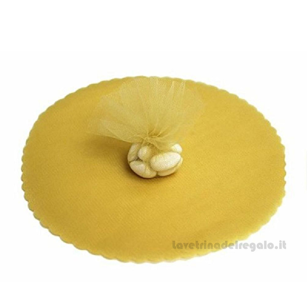 100 pz - Velo portaconfetti Oro rotondo in organza smerlato 24 cm - Veli nozze d'oro