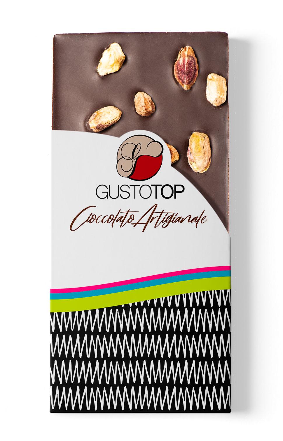 Tavoletta di Cioccolato fondente 72% con Pistacchio  confezione da 100 gr