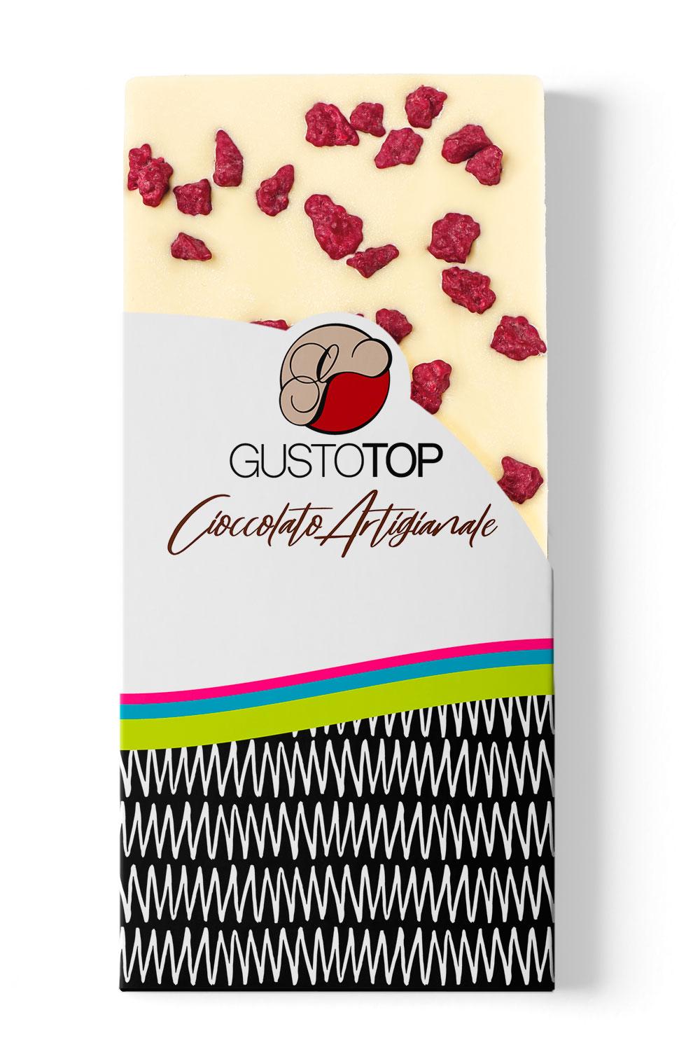 Tavolette di Cioccolato Bianco con Lamponi Crispy, 80 gr