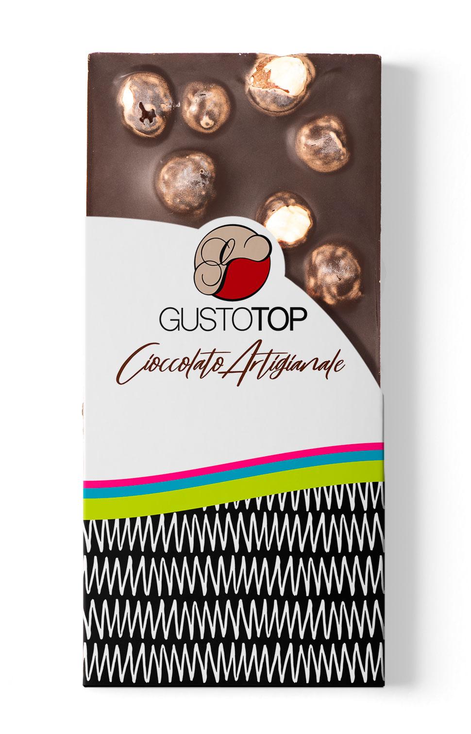 Tavoletta di Cioccolato Fondente al 72% con Nocciola, confezione da 120 gr