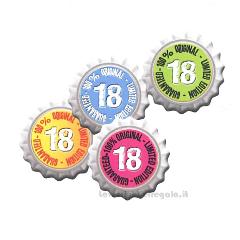 Magnete tappi di bottiglia con scritta 18 in legno 4.5 cm - Bomboniera compleanno 18 anni