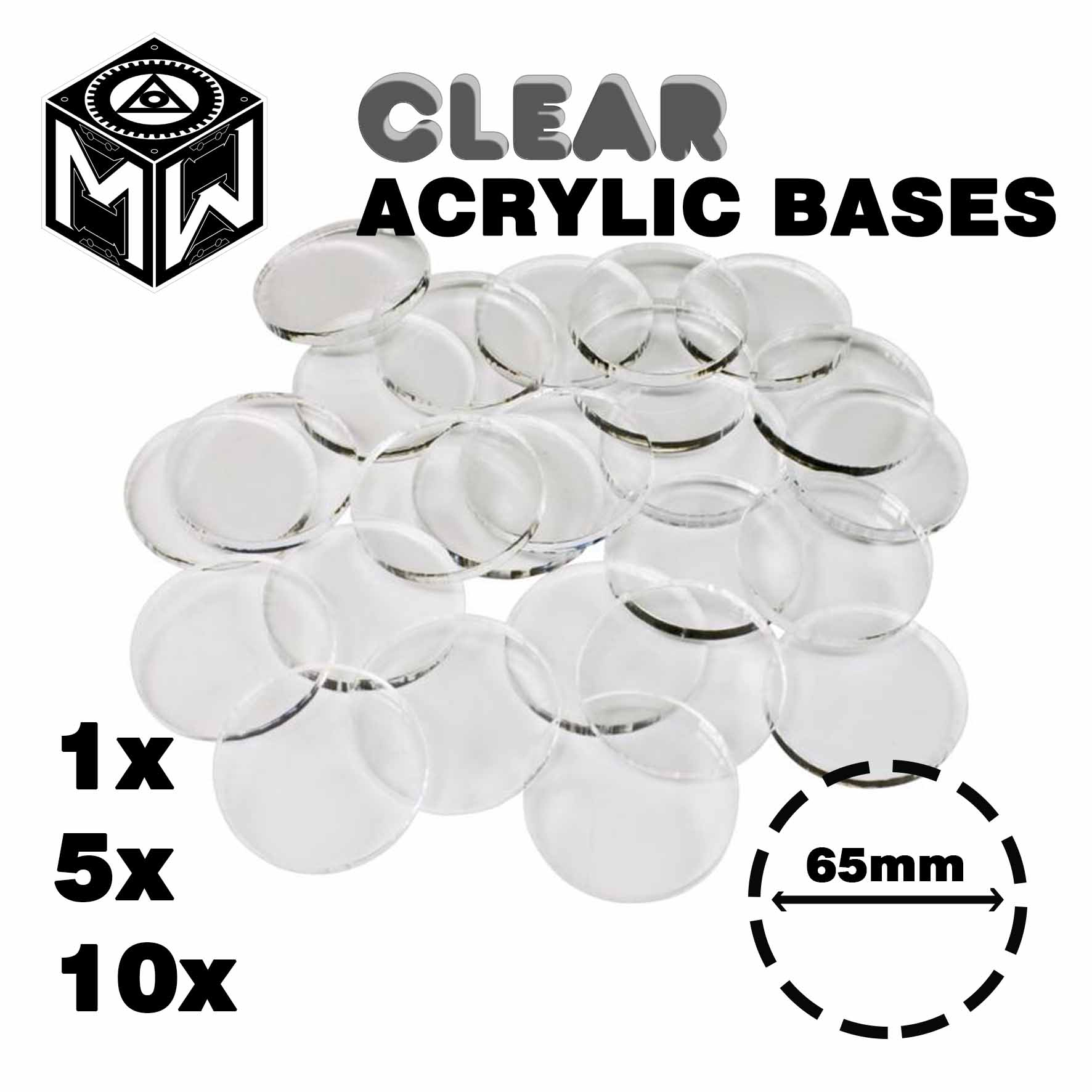 3mm Acrylic Clear Bases, Round 65mm