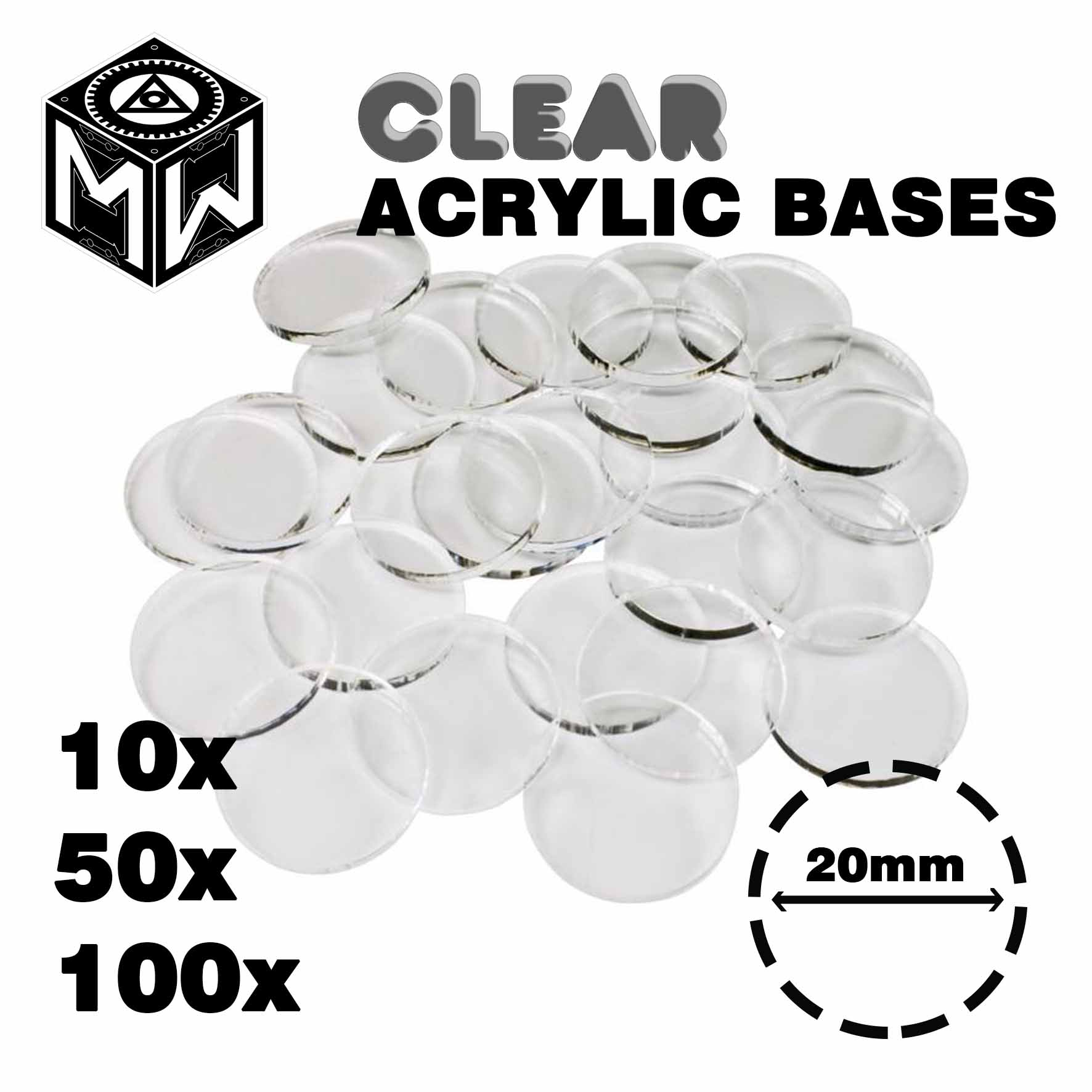 3mm Acrylic Clear Bases, Round 20mm