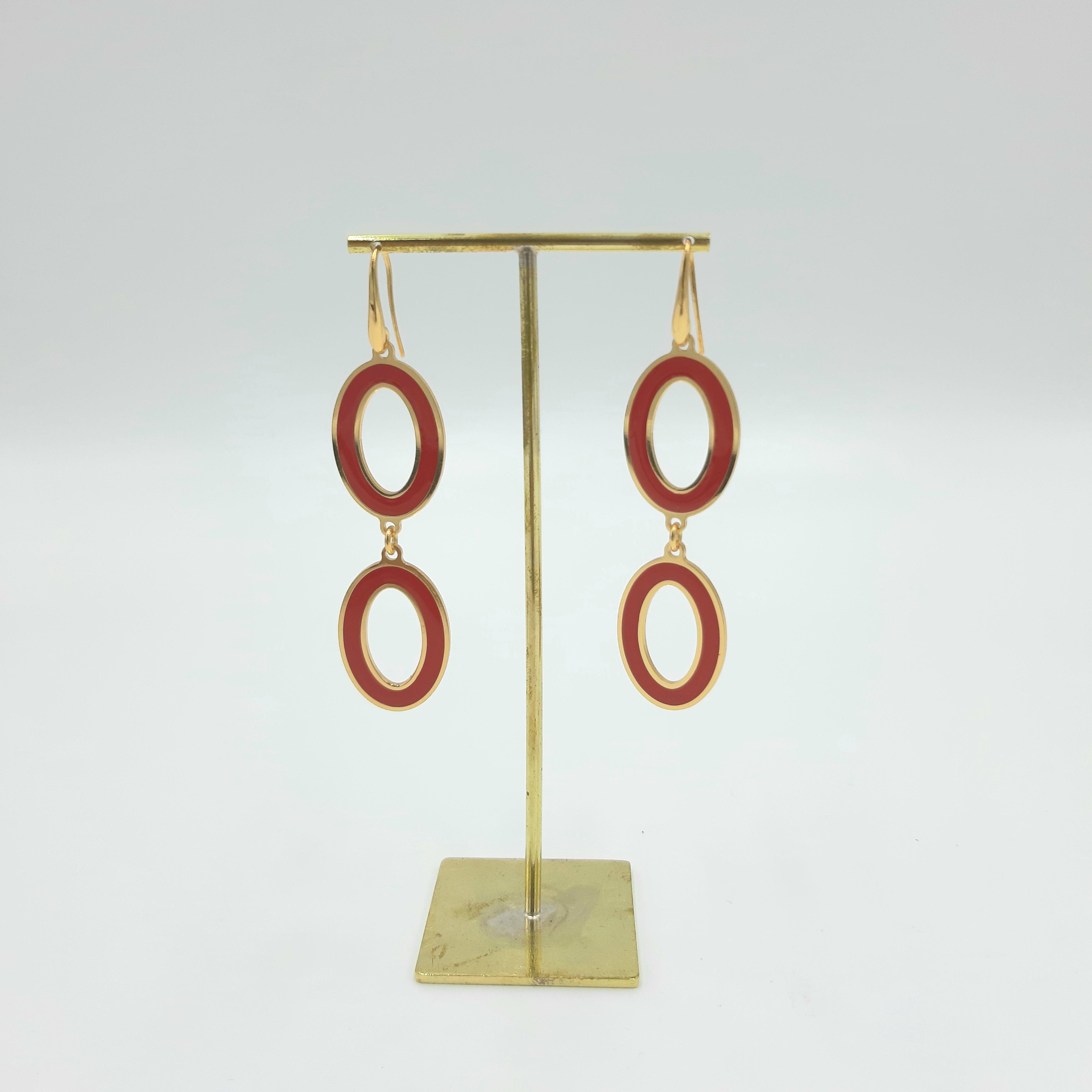 Orecchini doppio ovale rosso Francesca Bianchi Design