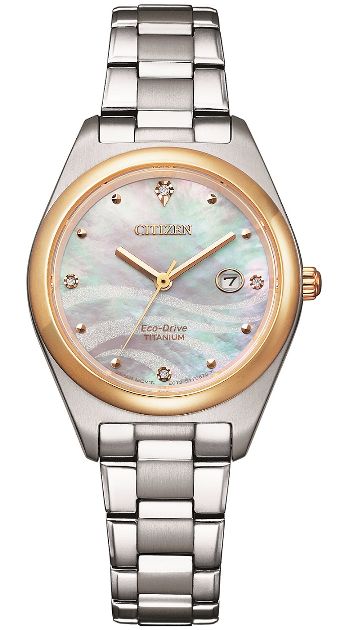 Citizen Lady Supertitanio, quadrante madreperla rosa con diamanti