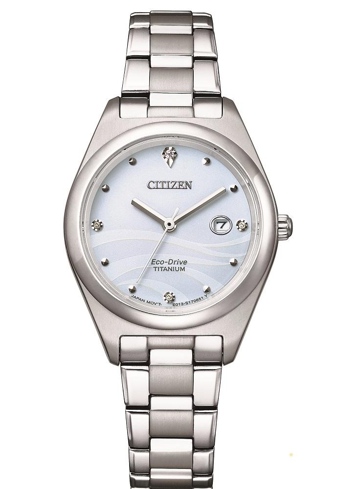 Citizen Lady Supertitanio, quadrante bianco con diamanti