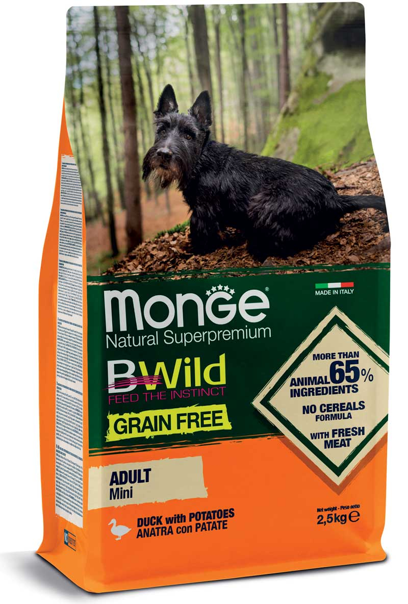 MONGE B-WILD GRAIN FREE - ANATRA CON PATATE - MINI ADULT 2,5 KG