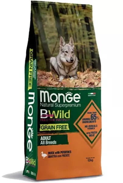 MONGE B-WILD GRAIN FREE - ANATRA CON PATATE - ADULT ALL BREED