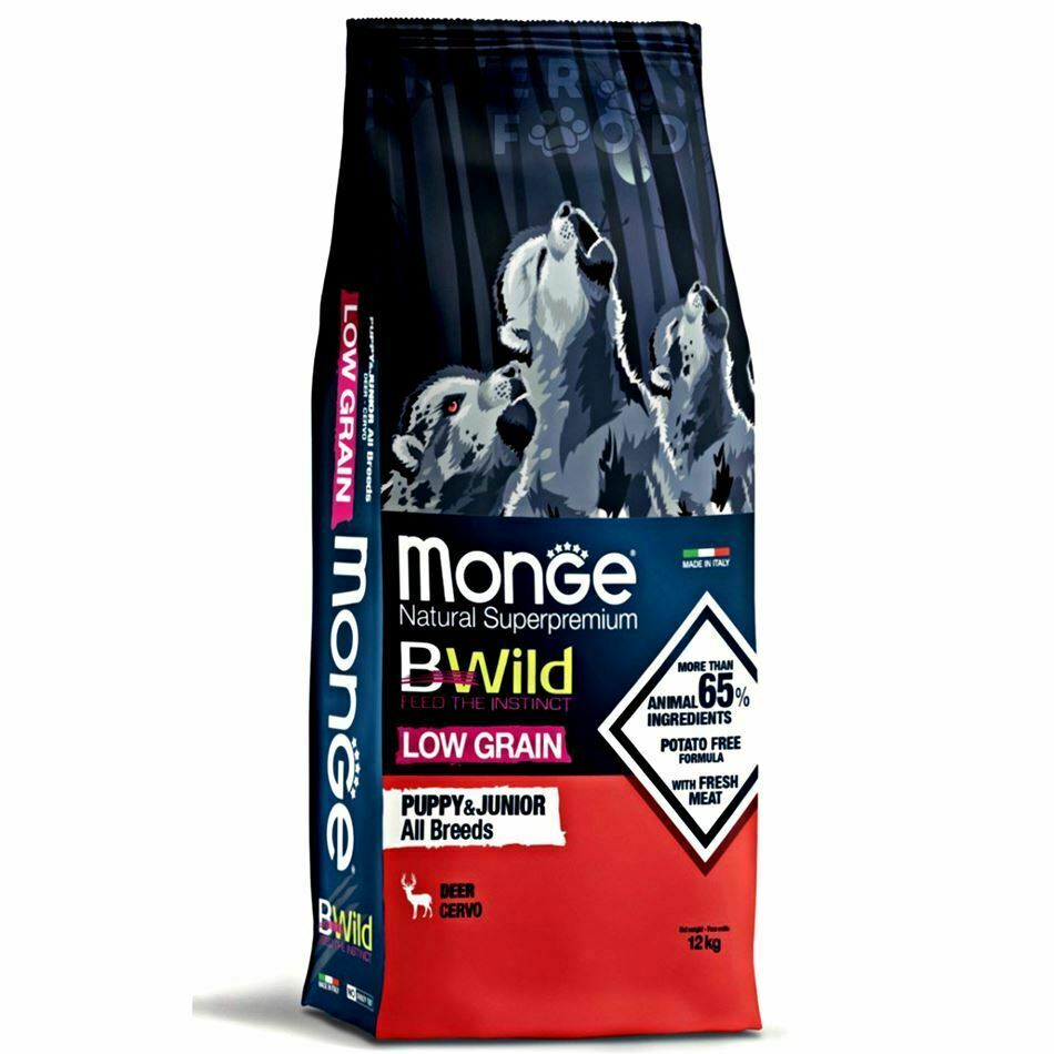 MONGE B-WILD LOW GRAIN - CERVO - PUPPY AND JUNIOR ALL BREED