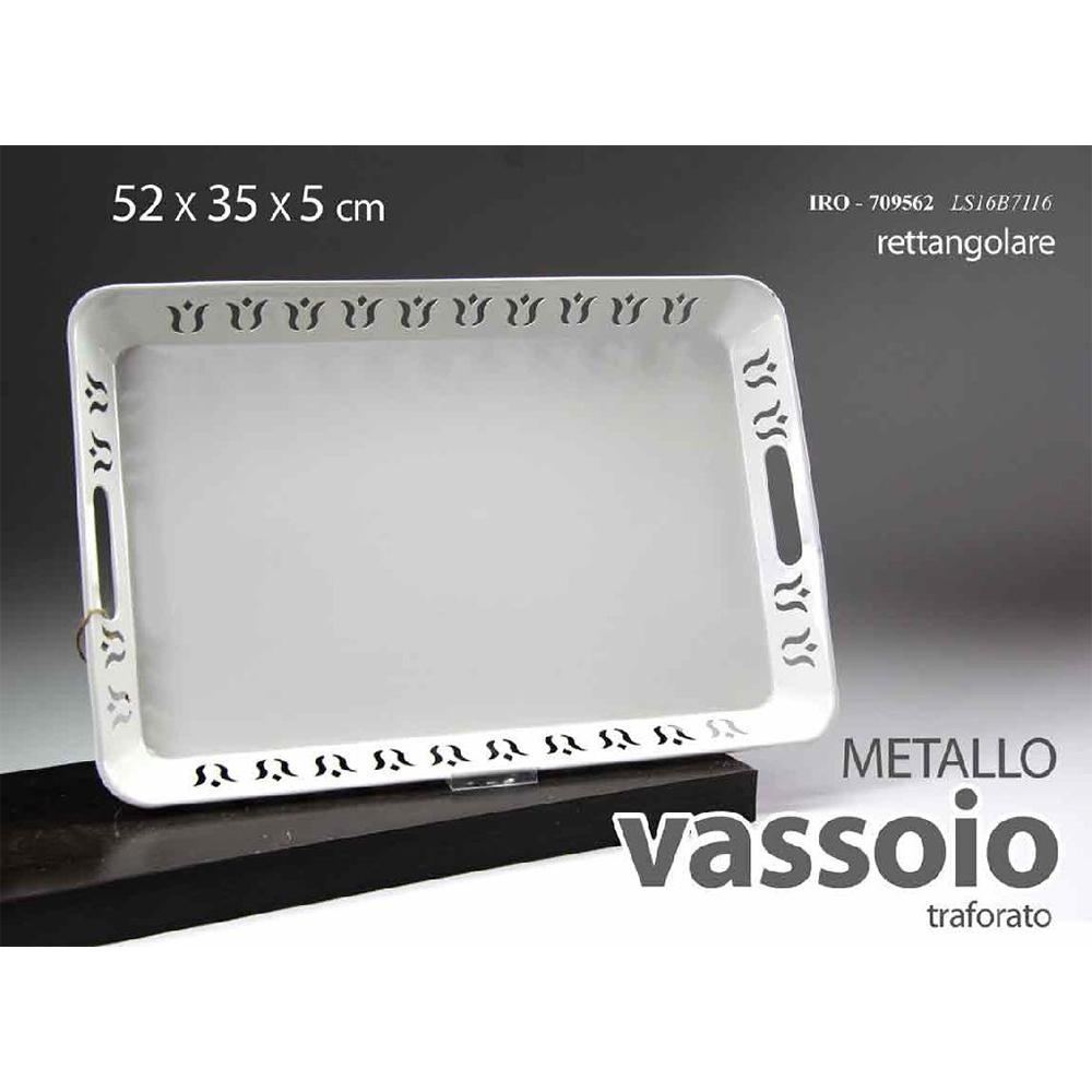 Gicos Vassoio Rettangolare in Metallo Bianco Con Bordino Decorato e Manici 52x35xh5 cm