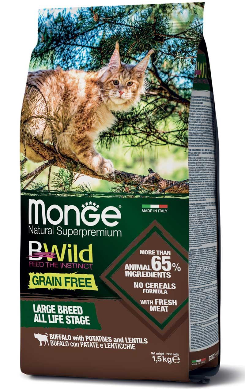 MONGE B-WILD GRAIN FREE - BUFALO CON PATATE - ADULT LIFE STAGE 1,5 KG