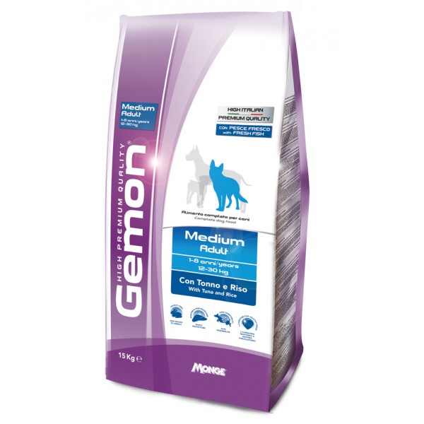 GEMON MEDIUM ADULT TONNO E RISO 15 KG