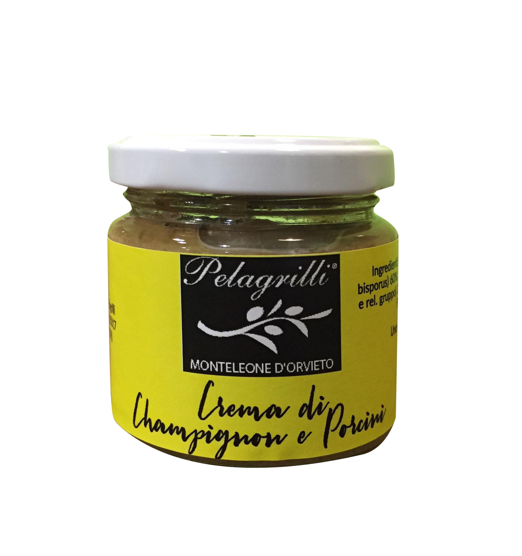 Crema di Champignon e Porcini con olio extra vergine di oliva Pelagrilli - vasetto da gr. 80