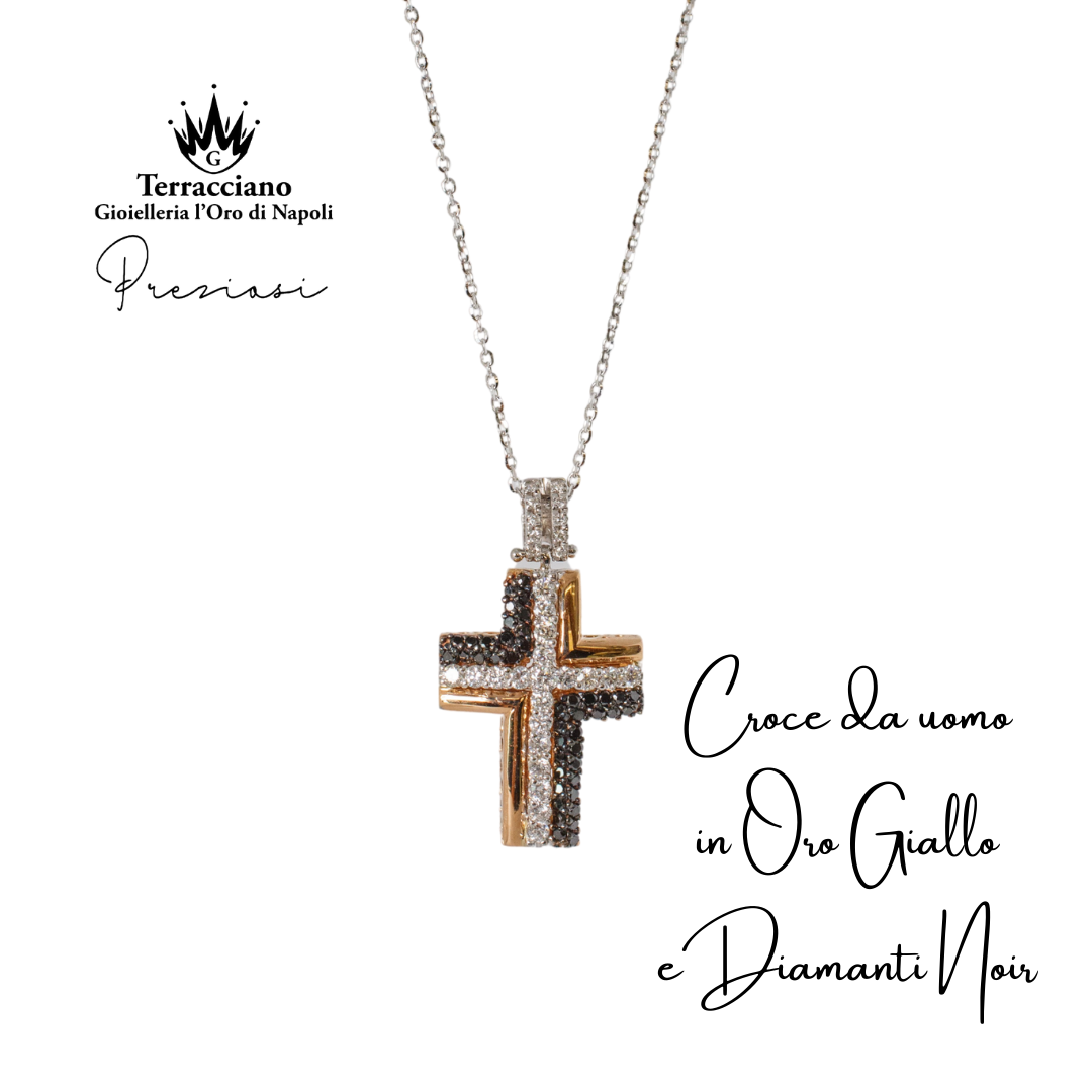 Croce da uomo Oro Giallo e Diamanti