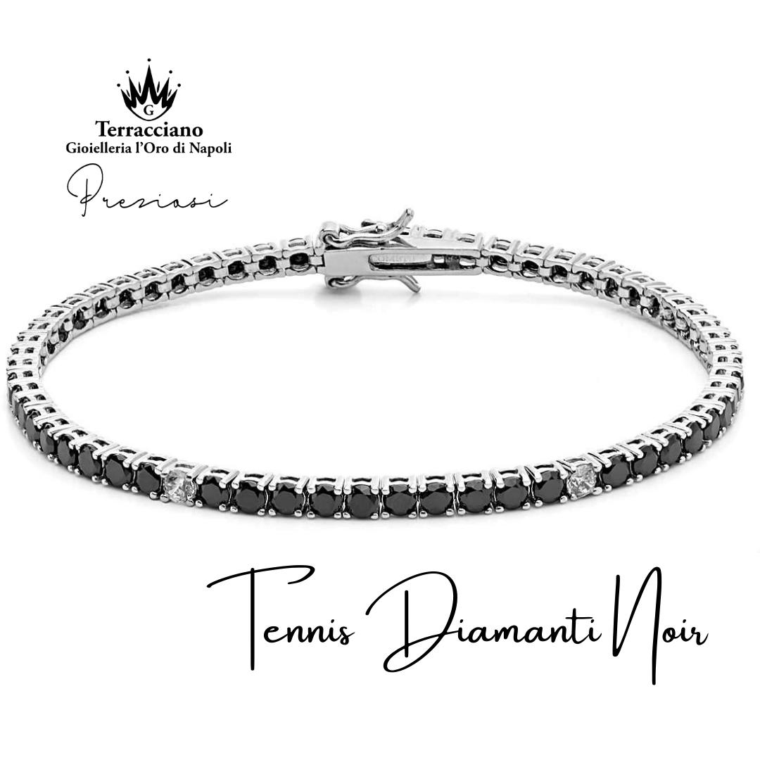 Bracciale Tennis Diamanti Bianchi e Noir